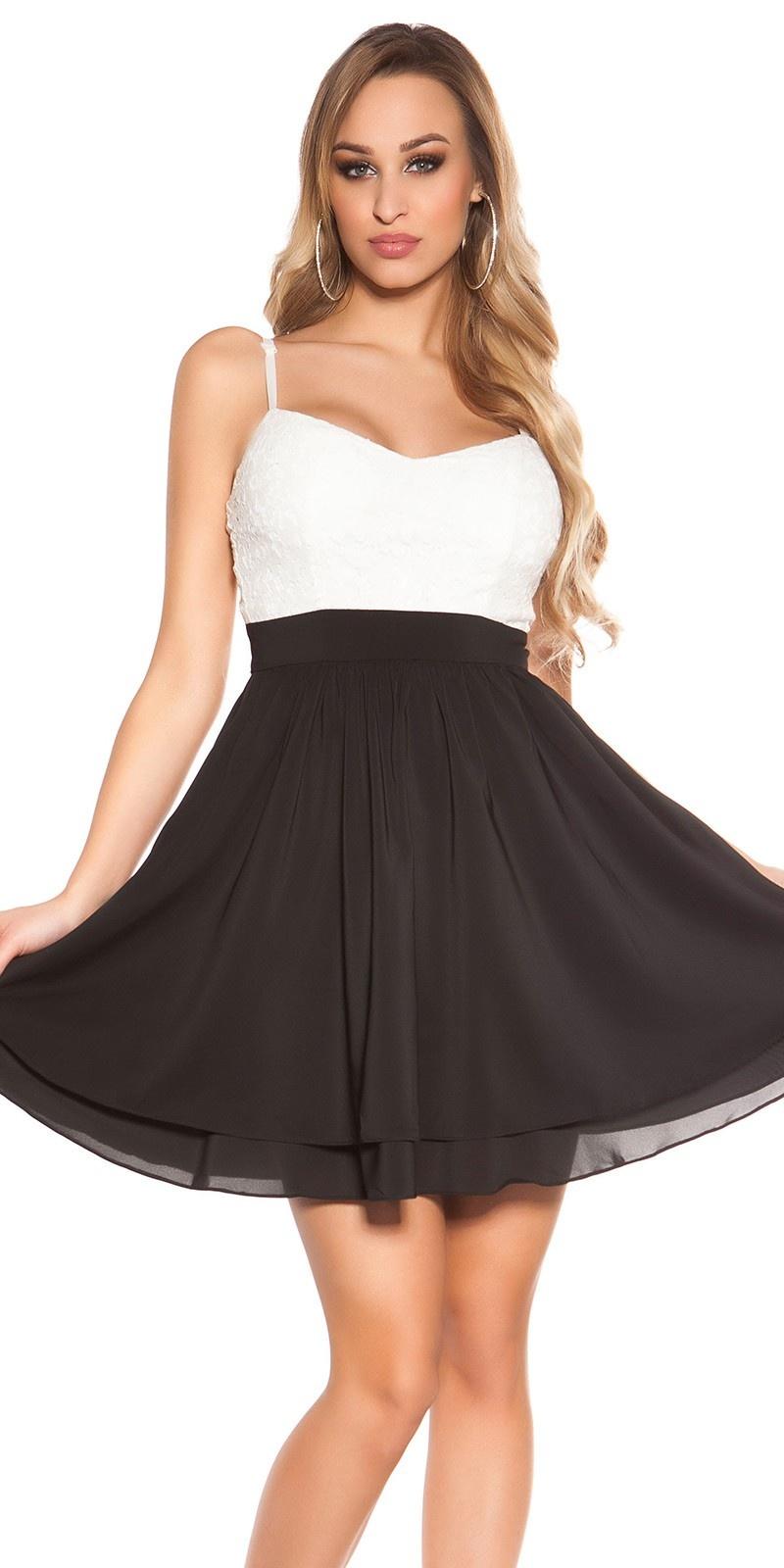 Sexy babydoll-mini jurkje met pailletten zwart