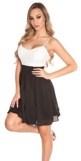 Sexy KouCla Babydoll-minidress with sequins Black