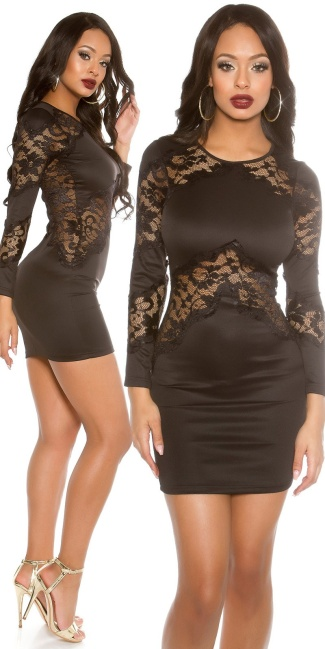 Sexy KouCla mini dress with lace Black