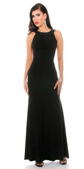 Sexy KouCla gown backless with Rhinstones Black