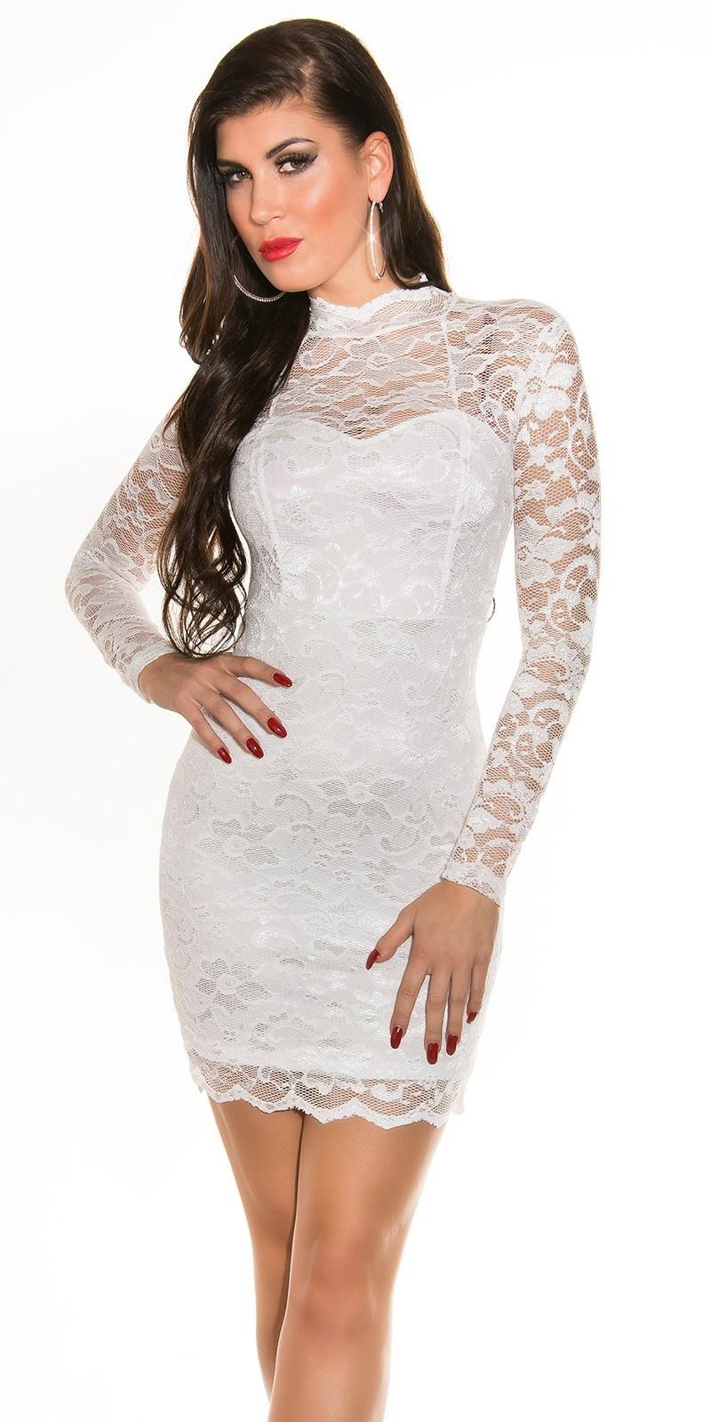 Sexy kanten mini jurkje lange mouw wit
