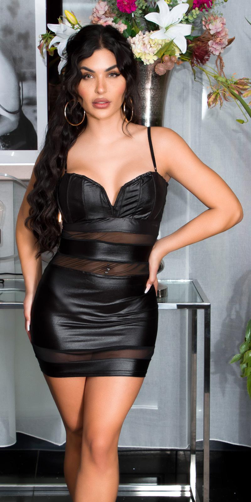 Sexy clubbing bustier mini jurkje in wetlook zwart