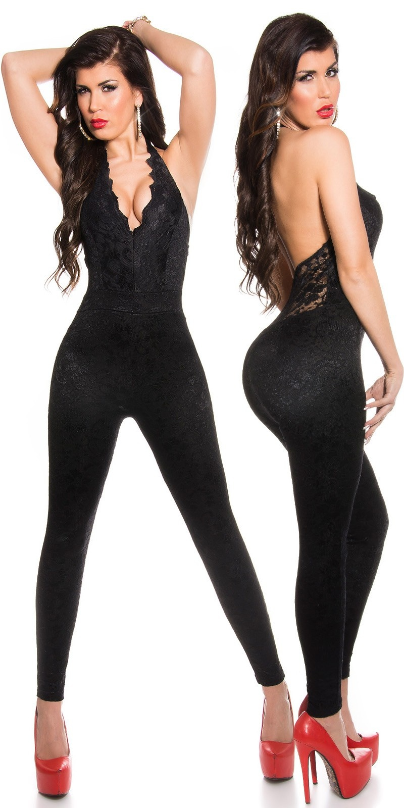 Sexy KouCla Neckoverall with lace Black