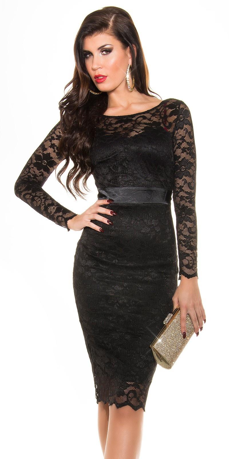 Sexy KouCla laced pencil dress Black
