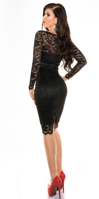 Sexy KouCla laced pencil dress Black