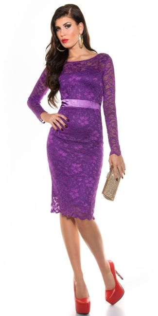 Sexy KouCla laced pencil dress Purple