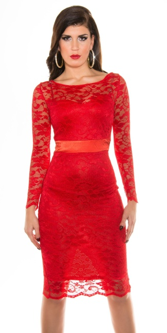 Sexy KouCla laced pencil dress Red