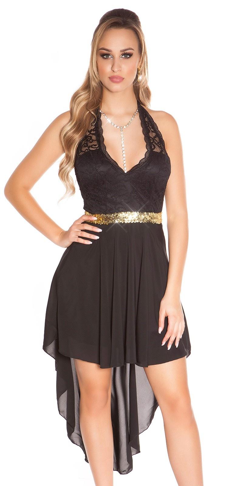 Sexy hoog-laag halter jurk zwart