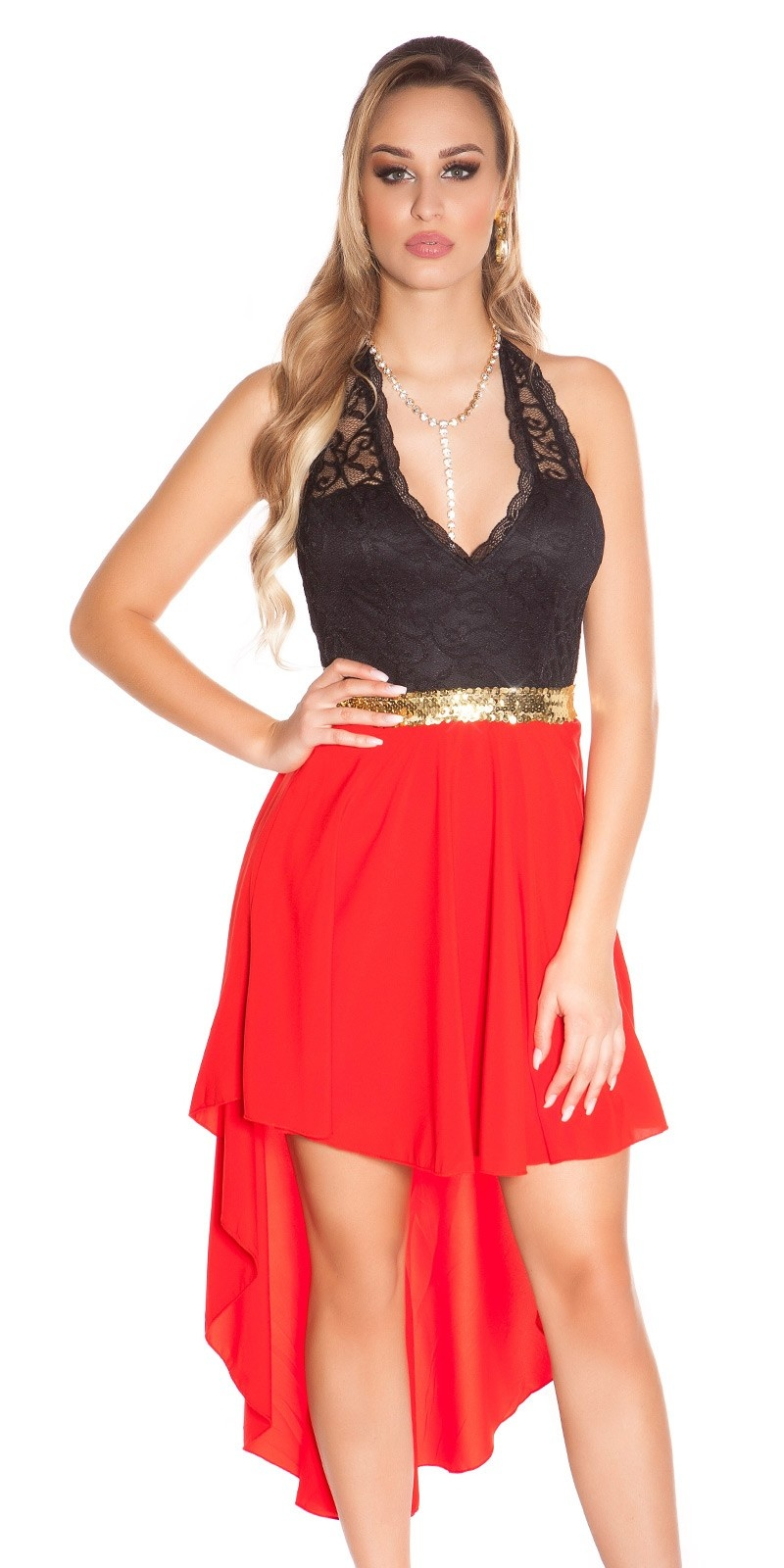 Sexy KouCla High Low Neckholder dress Red