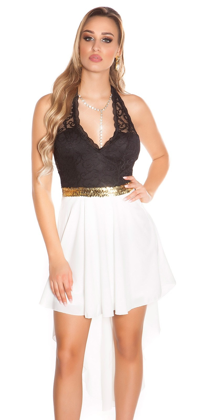 Sexy KouCla High Low Neckholder dress White