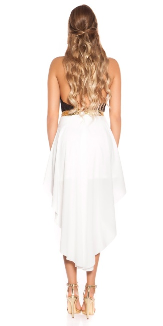 Sexy KouCla High Low Neckholder dress White
