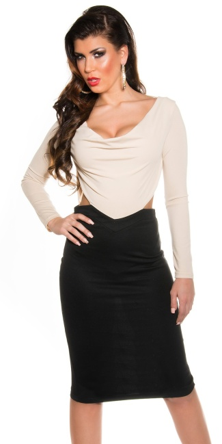 Sexy KouCla Shift Dress with Cowl Neck/Backless Beige