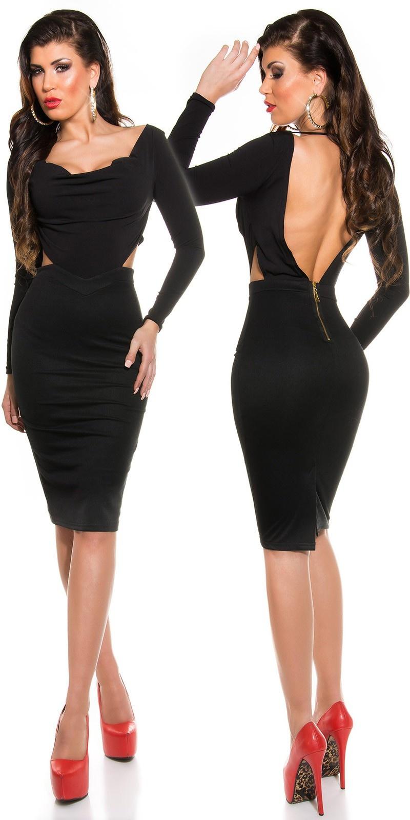 Sexy shift jurk met cowl halter/open rug zwart