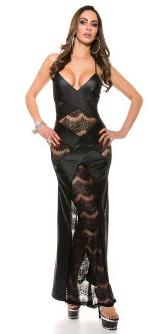 Sexy KouCla ClubStyle dress wet look with lace Black