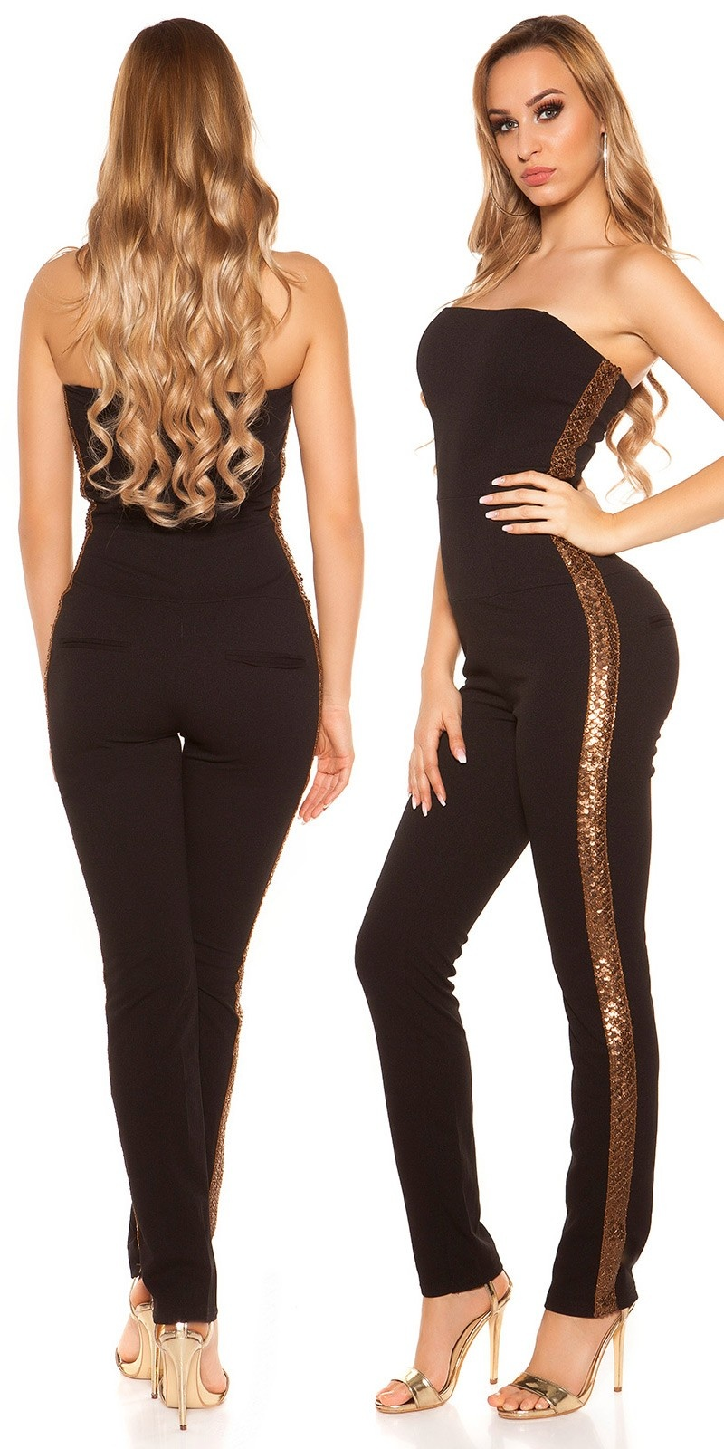 Sexy KouCla Bandeau Overall with sequins Black