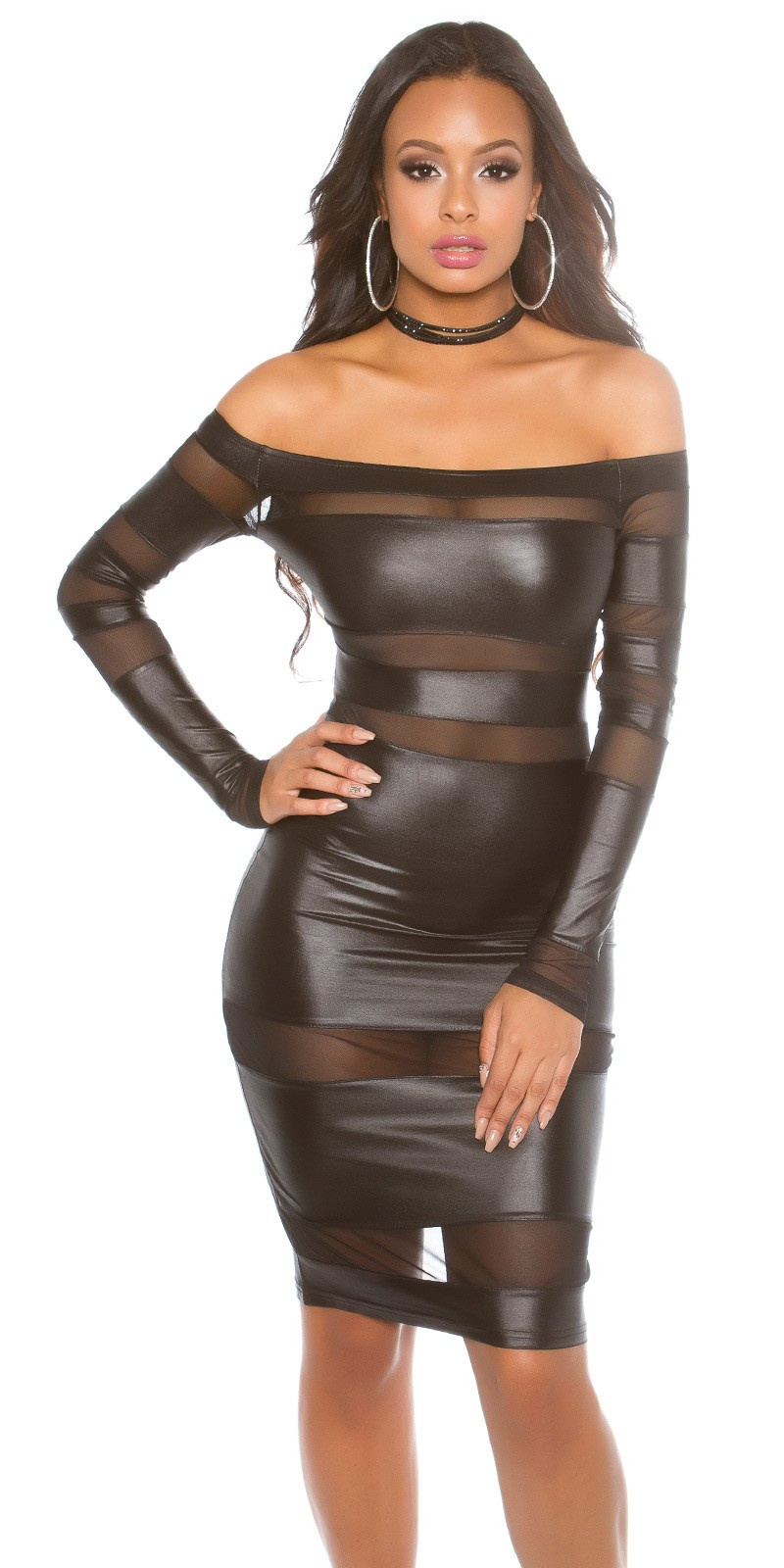 Sexy Wetlook Jurkje in JLo-Look Zwart