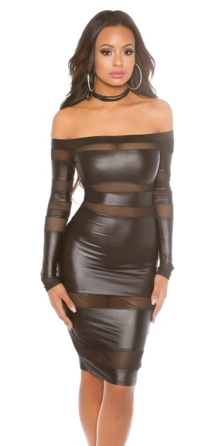 Sexy Wetlook dress JLo Lookwith mesh Black
