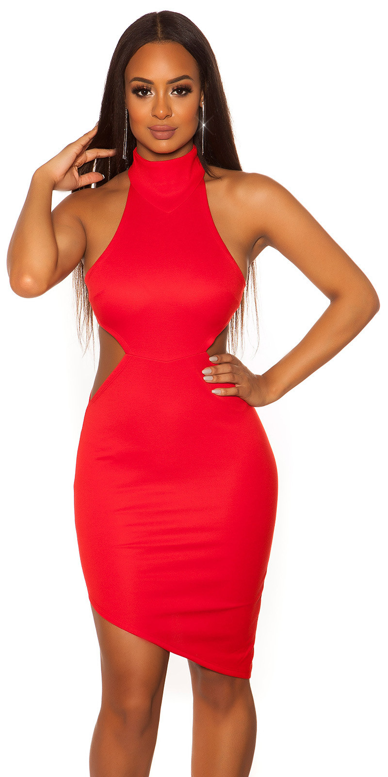 Sexy KouCla Neckholder dress asymmetric Red