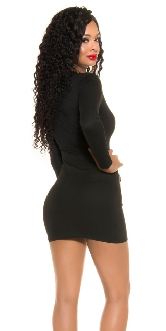 Sexy KouCla Mini Shift Dress with Zips Black
