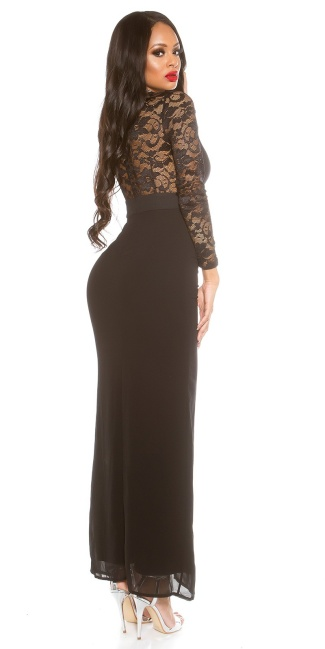Sexy KouCla Maxi gown with lace long sleeve Black