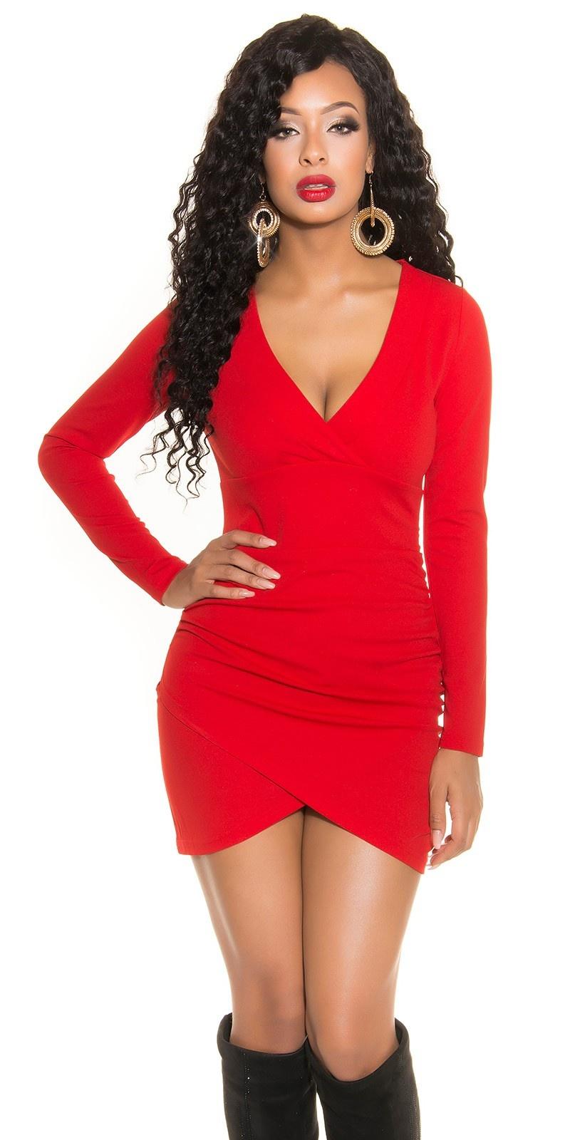 Sexy mini shift jurk lange mouw rood