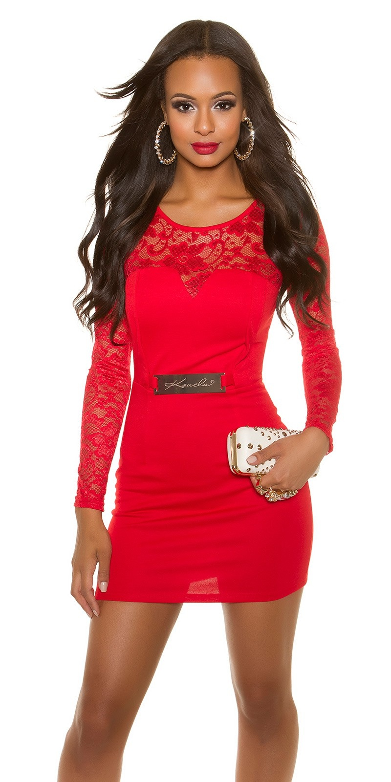 Sexy lange mouw shift jurk met kant rood