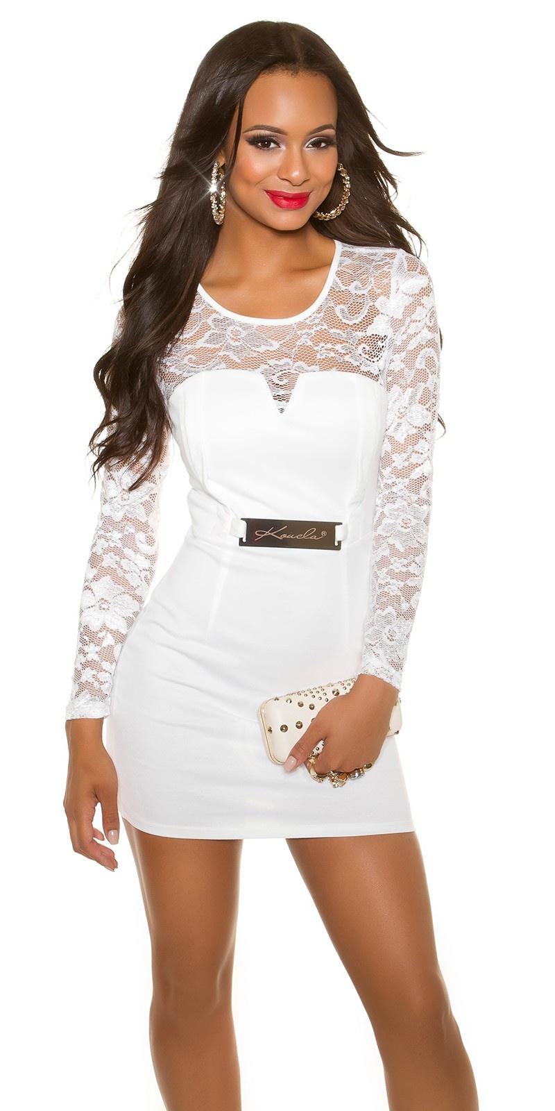 Sexy lange mouw shift jurk met kant wit