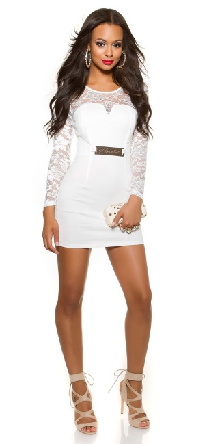 Sexy KouCla long sleeve shift dress with lace White