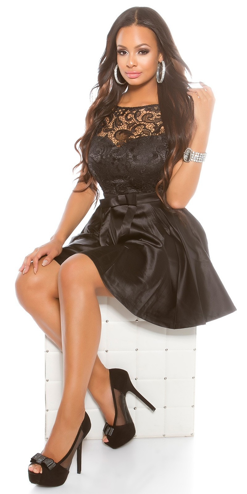 Party dress with lace and tule Black