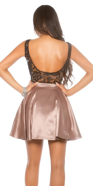 Party dress with lace and tule Cappuccino