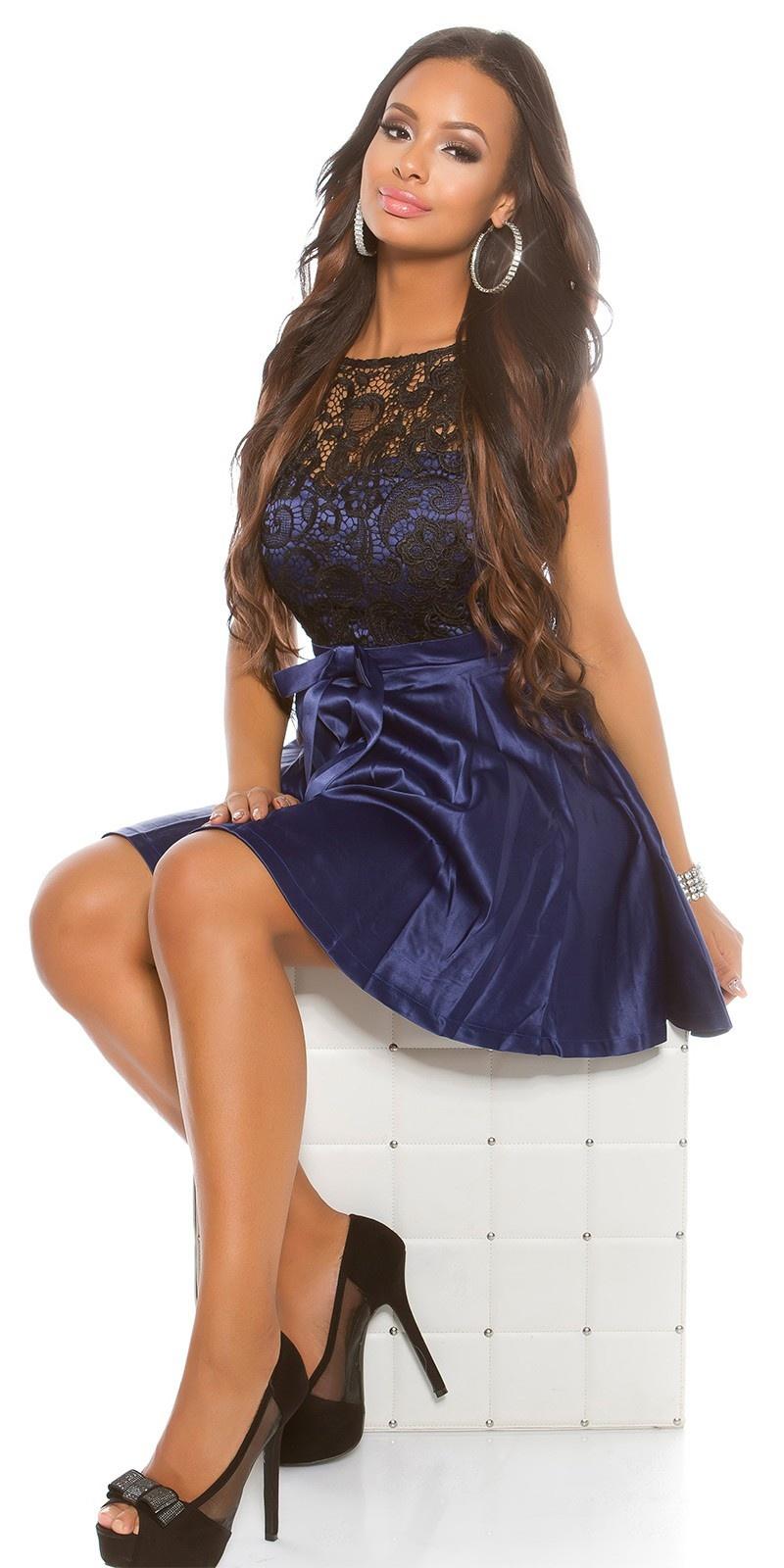 Feest uitgaans-jurk met kant en tule marineblauw