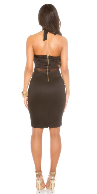 Sexy KouCla neck mini dress with mesh insert Black