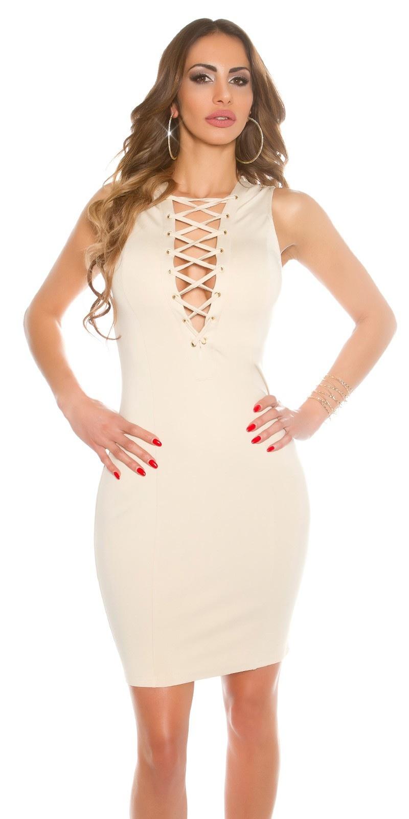 Sexy jurk met sexy veter beige