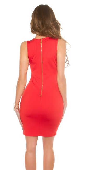 Sexy KouCla Sheath Dress with Sexy Lacing Red