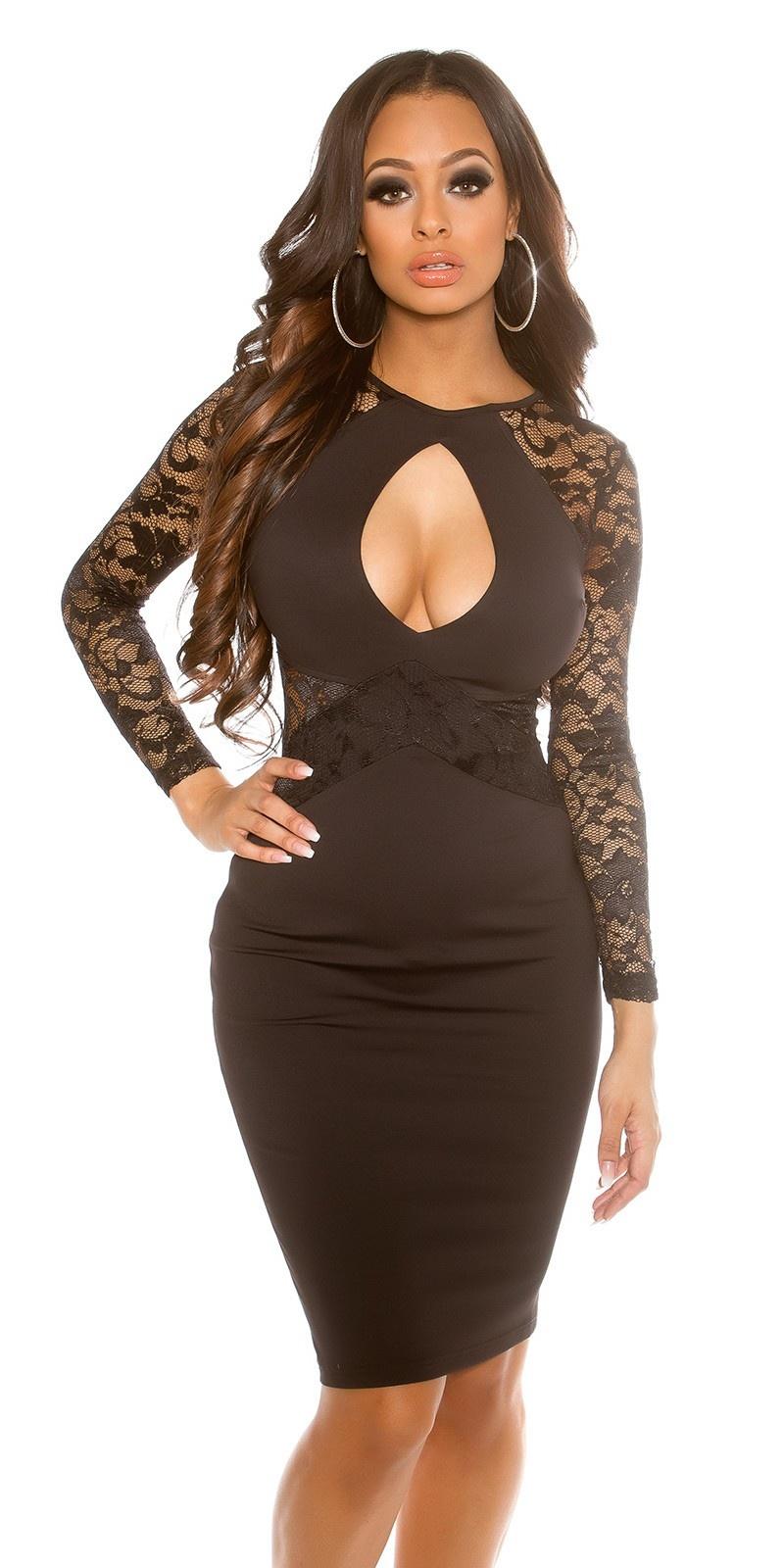 Sexy midi jurk met keyhole uitsparing zwart