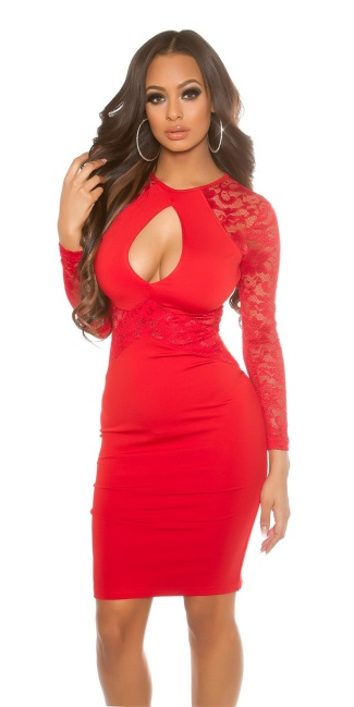 Sexy KouCla Midi dress with Keyhole Cut Out Red
