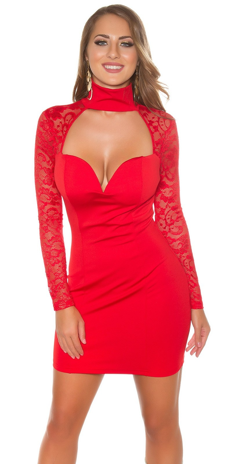 Sexy KouCla mini dress long sleeve with lace Red