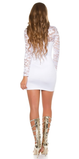 Sexy KouCla mini dress long sleeve with lace White