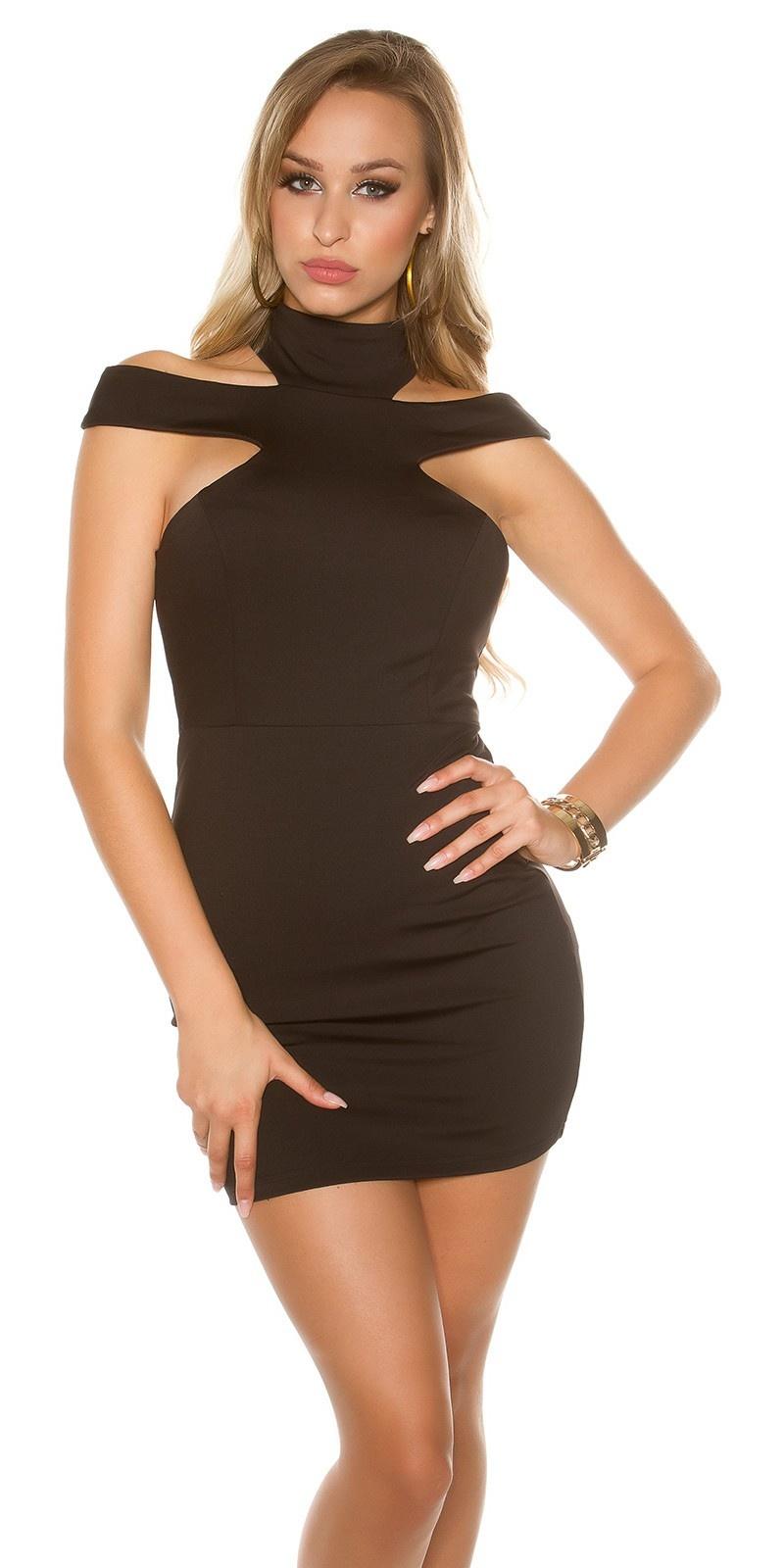 Sexy mini jurkje met kraag & uitsparingen zwart
