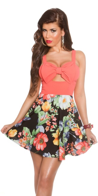 Sexy KouCla summerdress with cut outs & flowers Coral