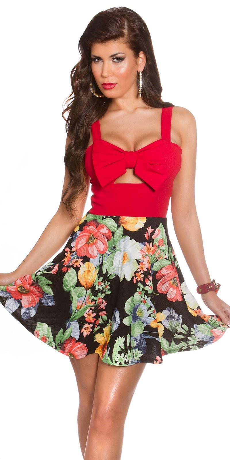 Sexy zomerjurk met uitsparingen & bloemen-print rood