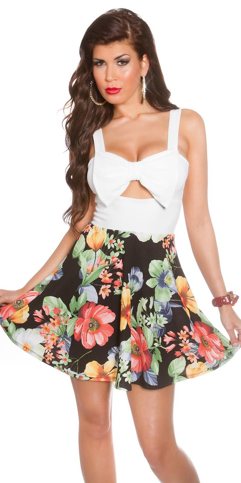 Sexy zomerjurk met uitsparingen & bloemen-print wit