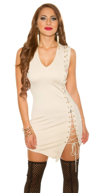 Sexy KouCla mini dress with lacing Beige