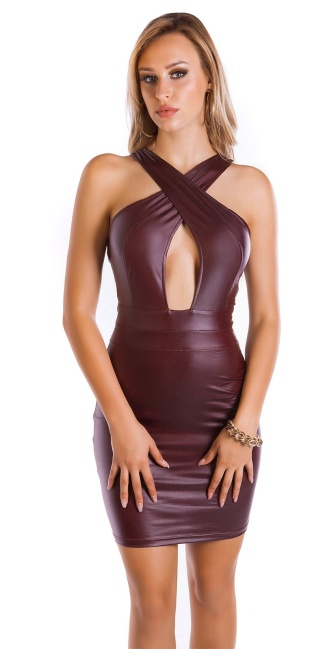 Sexy KouCla Wet look Mini dress Bordeaux