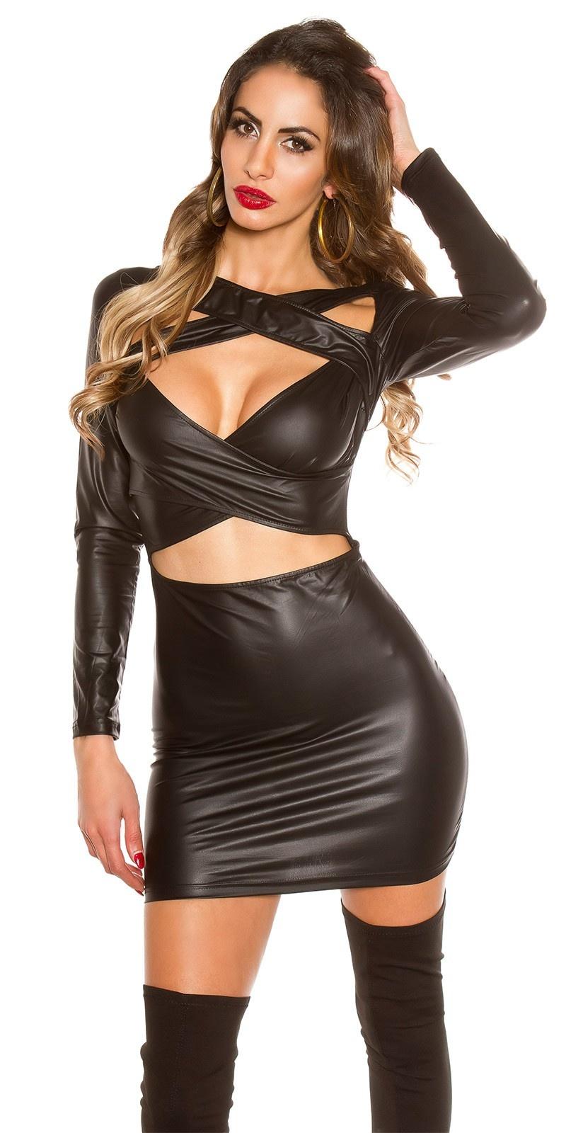 Sexy wetlook mini jurkje met uitsparingen zwart