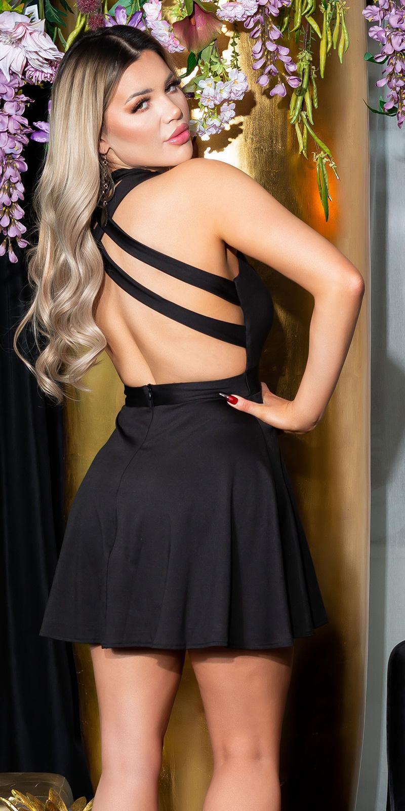 Sexy skater jurk sexy rug zwart