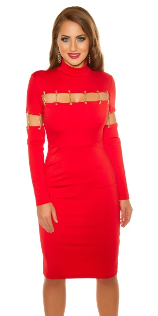 Sexy KouCla shift dress with deco chains Red