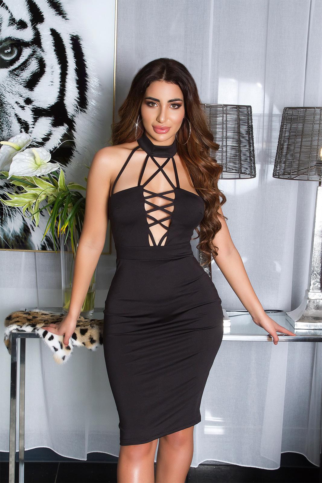 Sexy KouCla Neckholder Mini dress Sling Look Black