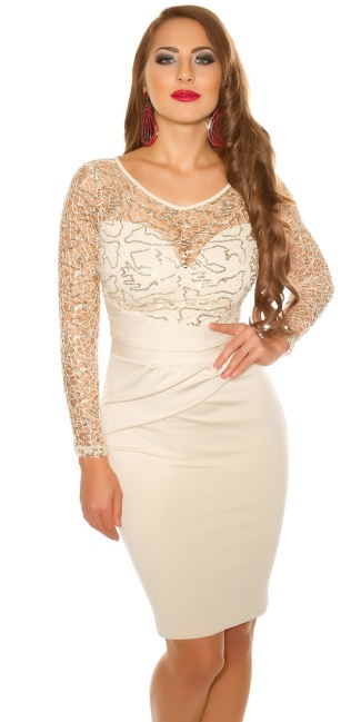 Sexy koucla partydress with lace & sequins Beige