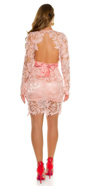 Sexy Koucla longsleeve party dress with lace Pink